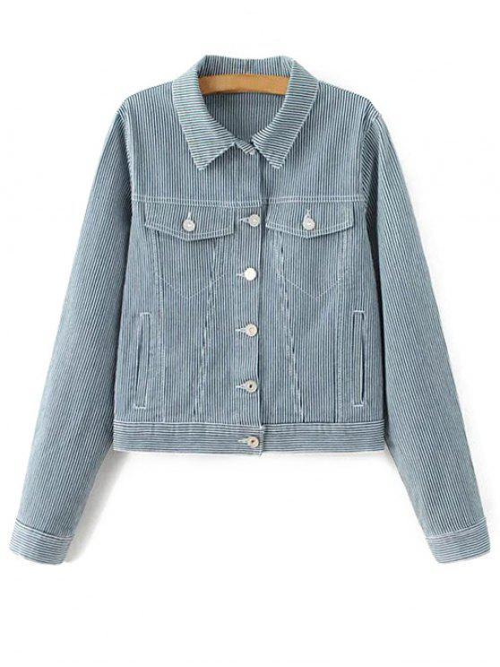 ladies Striped Denim Jacket - BLUE M