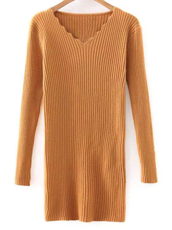 hot Slimming V Neck Long Sleeve Sweater Dress - YELLOW ONE SIZE