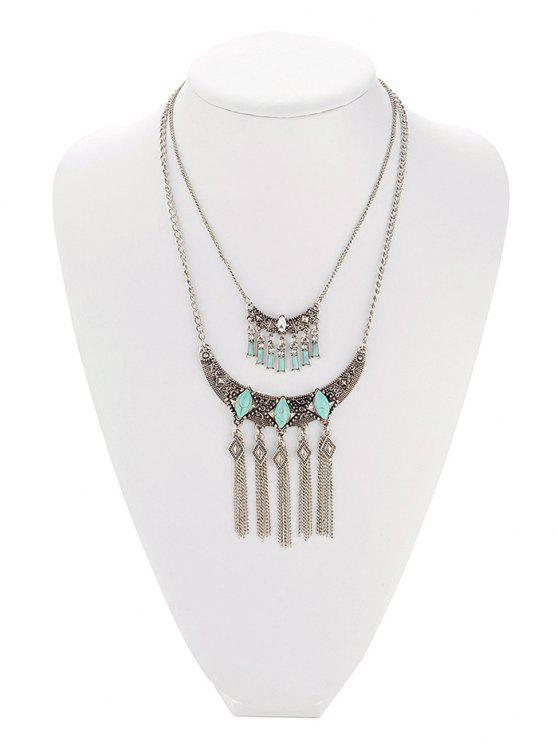 Faux Collar geométrico de la franja de la turquesa - Gris de Plata