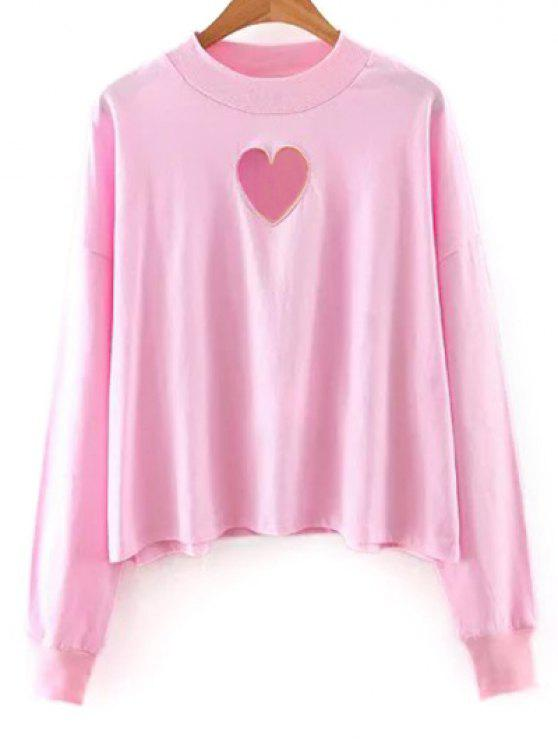 Solide Couleur longue Cutout Sleeve Sweatshirt - ROSE PÂLE M