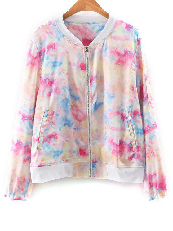 womens Tie Dye Print Stand Neck Jacket - COLORFUL M