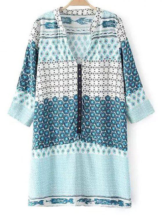 Imprimer ethnique col en V à manches 3/4 Robe Rivet - Bleu clair XL