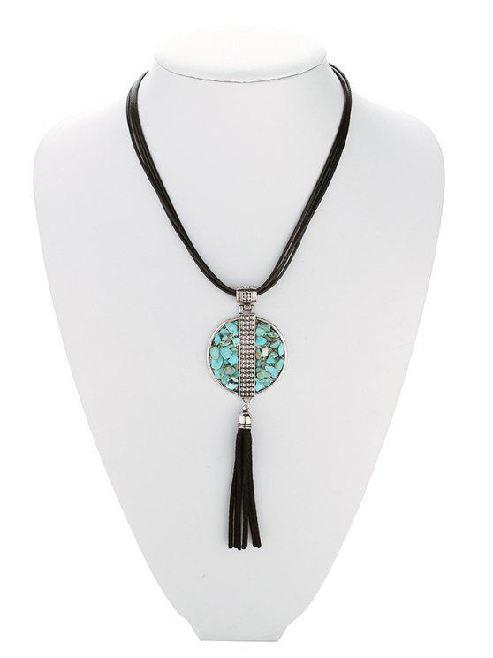 unique Geometric Turquoise Fringe Necklace - BLACK