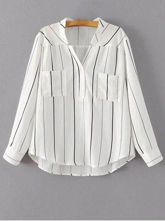Rayas con cuello en V manga de la blusa completa - Blanco S