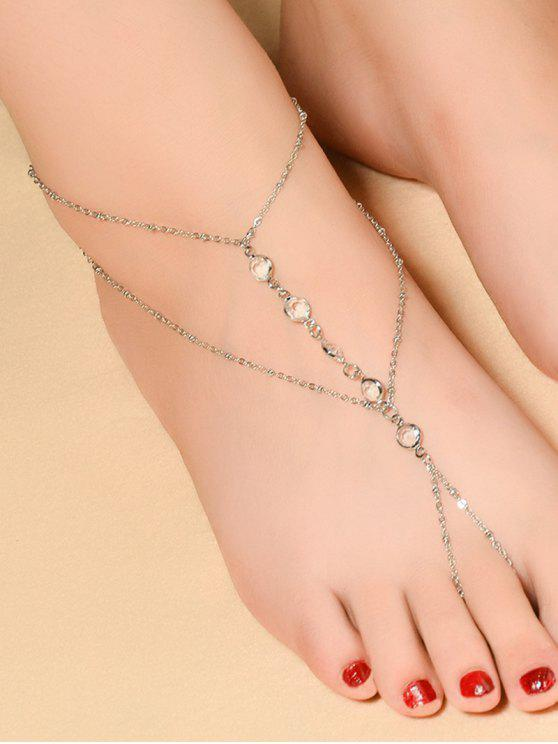 chic Faux Crystal Beaded Toe Ring Anklet - SILVER