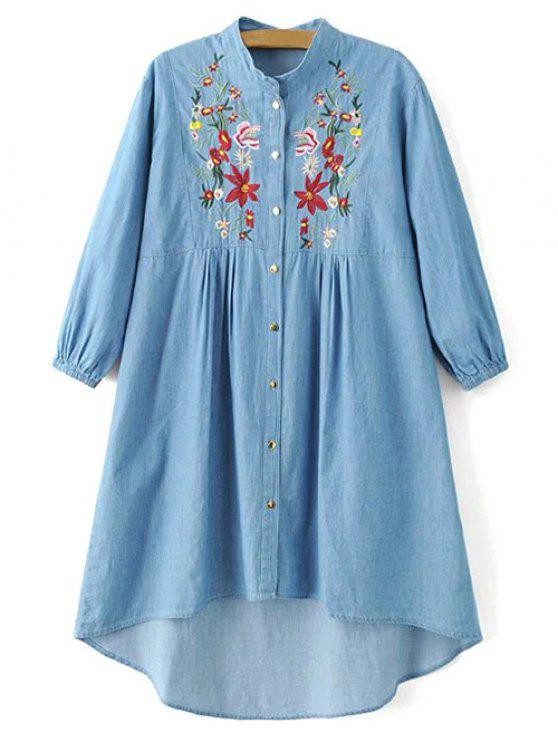 3a9807e139c 27% OFF] 2019 Floral Embroidered High Low Chambray Tunic Dress In ...