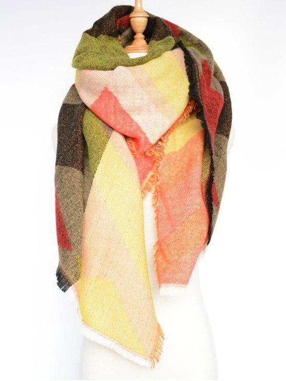 sale Rhombus Pattern Wrap Scarf - COLORMIX