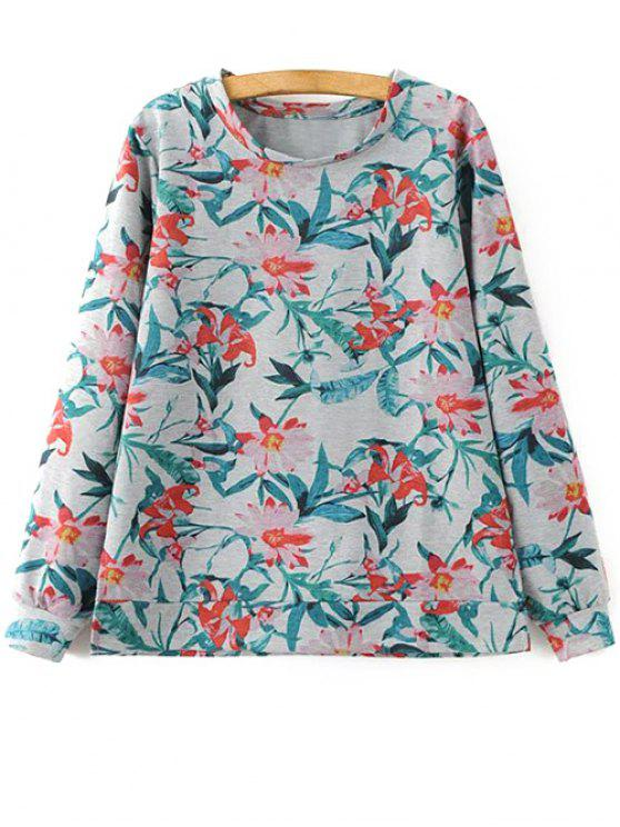 latest Floral Print Sweatshirt - COLORMIX M