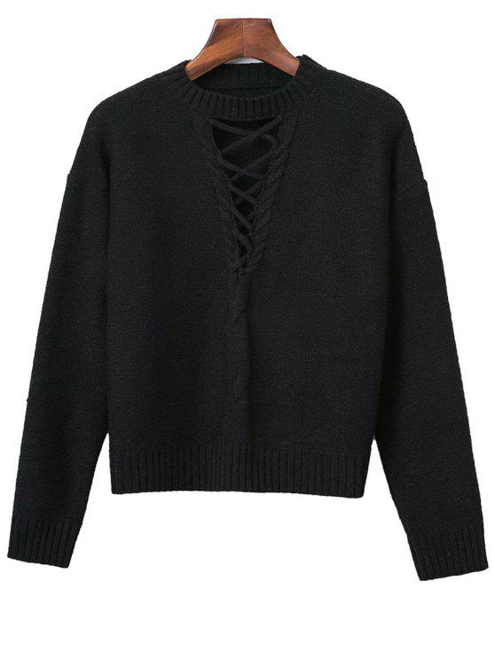 Lace-Up Cable Knit Sweater - Noir TAILLE MOYENNE