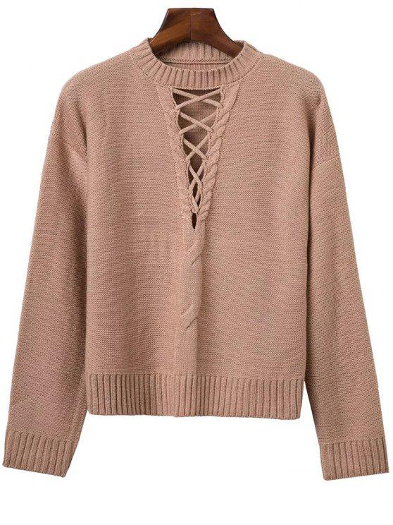 Lace-Up Cable Knit Sweater - Kaki Taille Unique