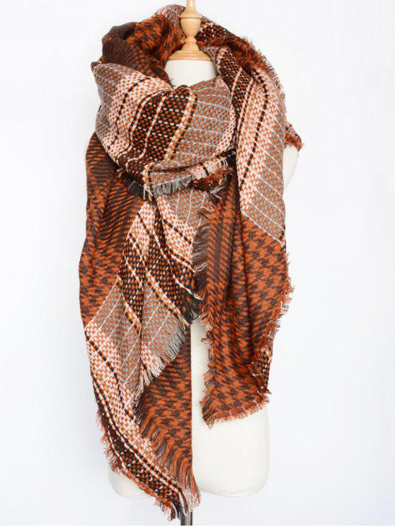 womens Houndstooth Woven Shawl Scarf - DARK RED