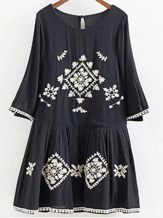 buy A Line Neck Embroidered Dress - BLACK S