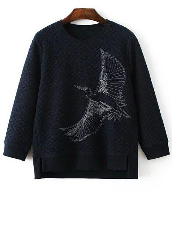women Bird Embroidered Crew Neck Sweatshirt - CADETBLUE M