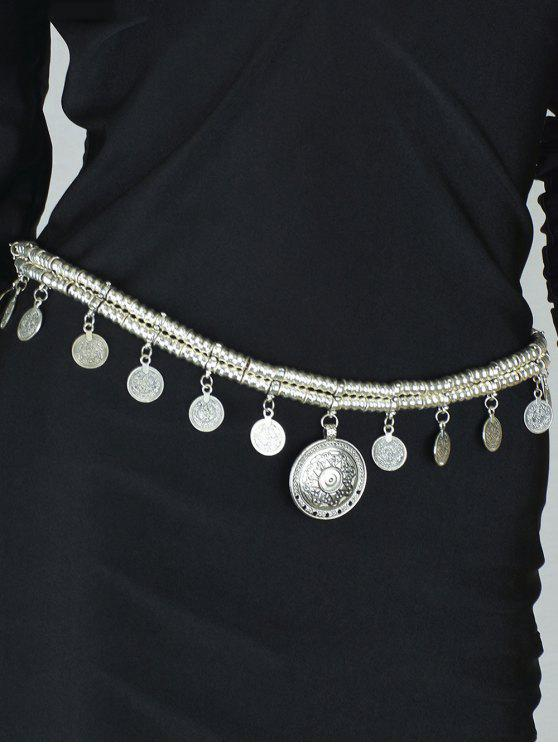 unique Coin Tassel Belly Chain - SILVER