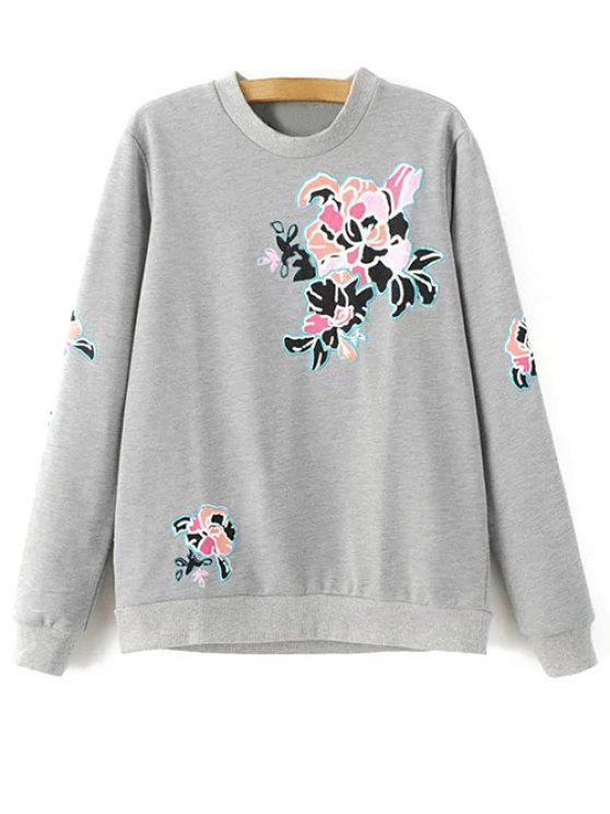 fancy Floral Pattern Grey Sweatshirt - GRAY S