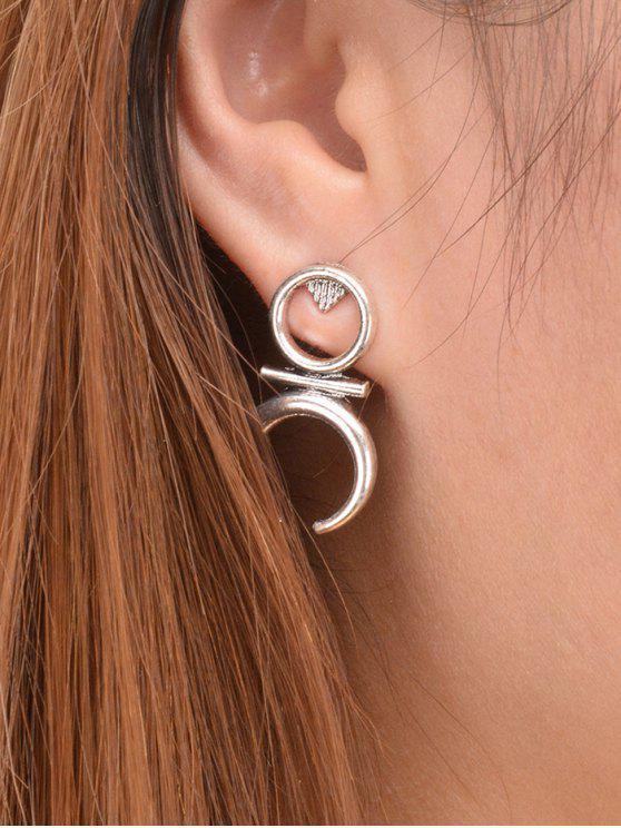 Boucles d'oreilles en forme de lune ronde - Argent