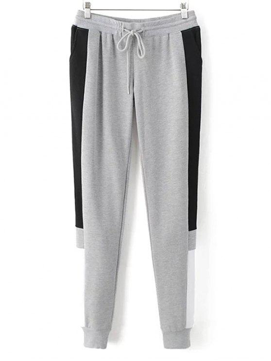 shop Color Block Jogging Pants - GRAY M