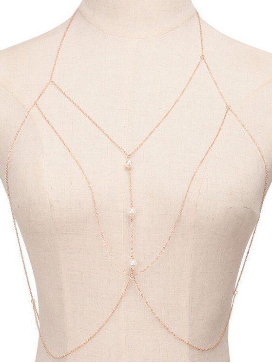 affordable Fake Pearl Sandbeach Body Chain - GOLDEN