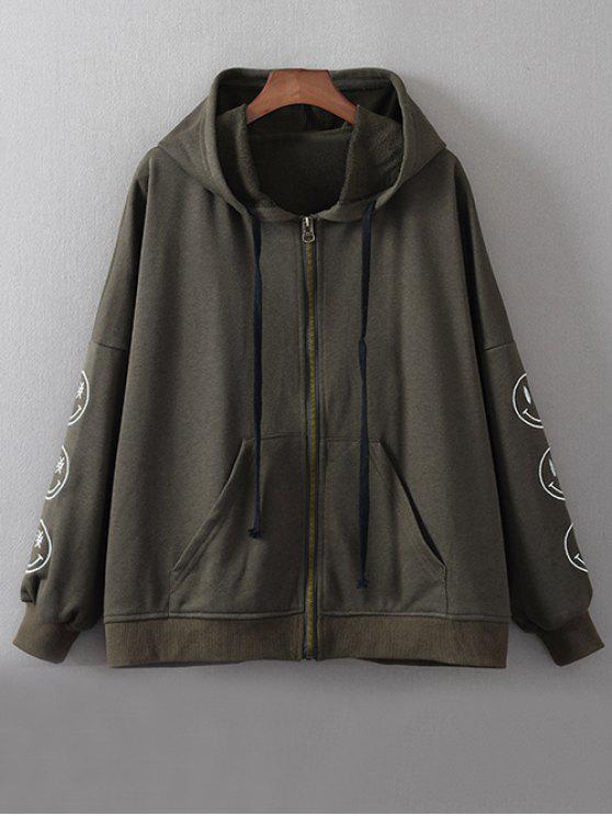 Cremallera sudadera con capucha bordada - Verde negruzco L