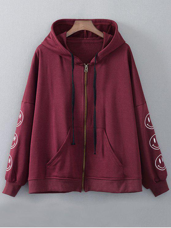 Zip Up Hoodie brodé - Rouge vineux  L
