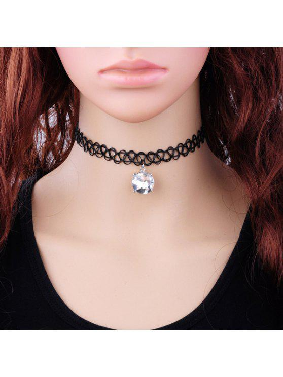 affordable Vintage Faux Zircon Tattoo Choker Necklace - WHITE