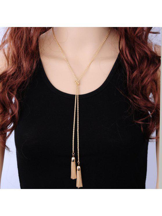women's Tassel Knot Alloy Necklace - GOLDEN