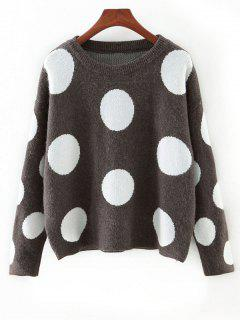 Cute Polka Dot Color Block Sweater - Gray