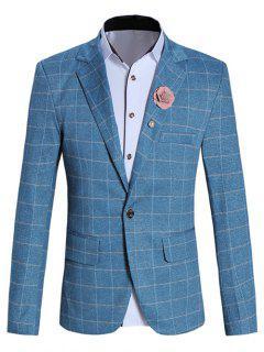Fashionable Lapel Collar Long Sleeve Checked Blazer For Men - Blue M