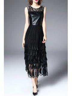 Lace Feathered Mesh Midi Dress - Black S