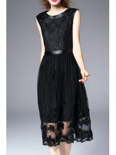 Lace Butterfly Embroidered Sequined Midi Dress - Black S