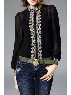Fitting Embroidered Shirt With Cami Tank Top - Black S