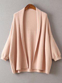 Cloak Solid Color Collarless Bat-Wing Sleeve Cardigan - Pink
