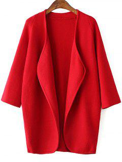Solid Color Collarless 3/4 Sleeve Cardigan - Red