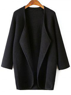 Solid Color Collarless 3/4 Sleeve Cardigan - Black