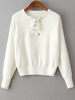 Lace-Up Round Neck Long Sleeve Sweater - White