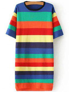 Striped Round Neck Color Block Sweater Dress