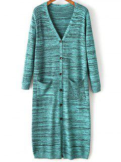 Buttons Snow-Dyeing Collarless Long Sleeve Cardigan - Blue