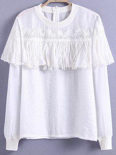 T-shirt Crochet Glands Jewel Cou à Manches Longues - Blanc