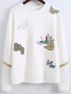 Embroidered Round Neck Long Sleeve Sweatshirt - White M