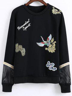 Embroidered Round Neck Long Sleeve Sweatshirt - Black M