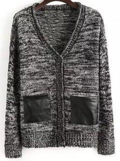 Buttons Double Pocket V Neck Long Sleeve Cardigan - Black M