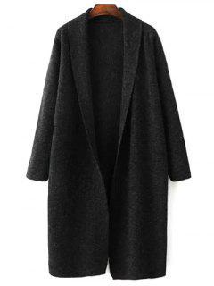Loose Fitting Turn-Down Collar Long Sleeve Cardigan - Black