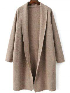 Loose Fitting Turn-Down Collar Long Sleeve Cardigan - Light Khaki