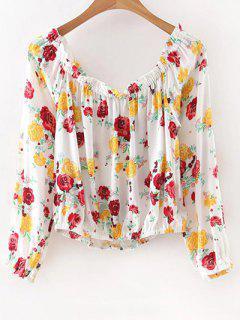 Off The Shoulder Floral T-shirt Imprimé - Blanc M