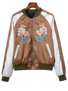 Color Block Floral Embroidered Stand Neck Jacket - Dark Khaki M