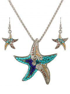 Turquoise Beads Starfish Necklace Set - Silver