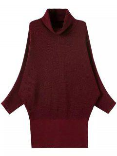 Solid Color Turtle Neck Batwing Sleeve Sweater - Wine Red