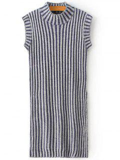 High Slit Stand Neck Sleeveless Sweater - Gray