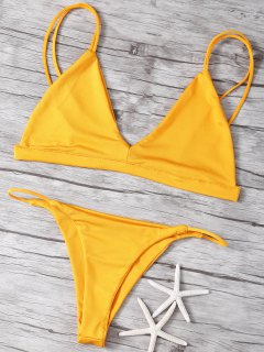 Pure Color Cami Low Waisted Bikini Set - Sweet Orange S