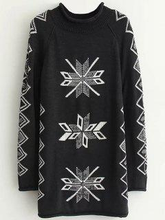 Geometric Pattern Jacquard Long Sweater - Black